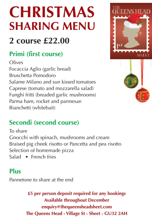 Christmas 2019 Menu - The Queens Head, Sheet Hampshire - Pubs Petersfield - Pub & Italian Restaurant - Takeaway Pizza - Cask Ales & Excellent Food